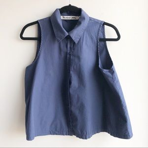 Michael Stars Blue Sleeveless Cropped Button Front